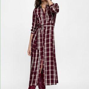 ZARA long checkered dress